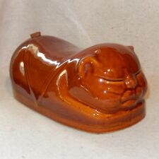RARE Chinese Figural CAT Stoneware Foot Bed Warmer Pottery Sleeping Porcelain