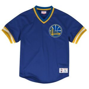 Golden State Warriors Mitchell & Ness NBA Men's Mesh V-neck Jersey Shirt