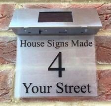 SOLAR HOUSE SIGN ADDRESS PLAQUE DOOR NUMBER STREET LIGHTED DOOR NUMBERS SIGN LED