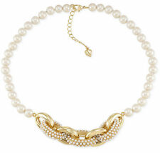 $125 Carolee Gold Tone CASABLANCA Cachet Linked Frontal Faux Pearl Necklace NEW