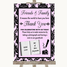 Wedding Sign Poster Print Baby Pink Damask Photo Guestbook Friends & Family