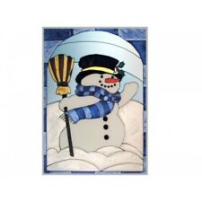10x14 Snowman Christmas Holiday Winter Stained Art Glass Window Suncatcher