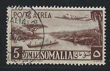 1950 Somalia Scott #C26 - 5 somali Plane over River Air Mail Stamp - Used