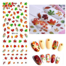 Women Nail Art Water Decals Transfers Autumn Leaves Winter Fall Gel Polish (90)