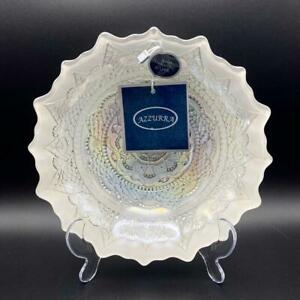 Azzurra Turkish Glass Dish Handmade with Silver Pearlised White Iridescent Bowl
