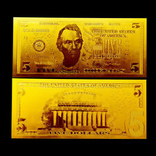 BILLETE 5$ US DOLLAR REPLICA ORO GOLD 24K