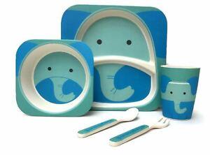 Children's 5 Piece Bamboo Dinner Set - 100% Bamboo Fibre, Eco-Friendly, Dishwash