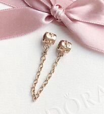 Genuine New Pandora 14ct Gold Hawthorn Flower Safety Chain Charm 750312 7cm