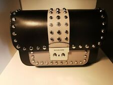 MICHAEL KORS Sloan Editor Studded Two-Tone Leather Shoulder Bag- Black/ SoftGrey