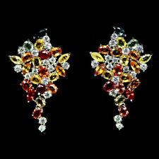 NATURAL MULTICOLOUR SAPPHIRE & WHITE CZ EARRINGS 925 SILVER STERLING