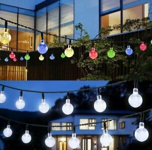 LED Solar Powered Garden Party Fairy String Crystal Ball Lights Outdoor UK STOCK