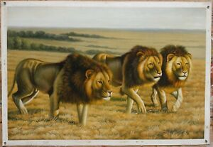 """Fine art oil painting on canvas animal three lions 100% hand-painted24""""x36"""""""