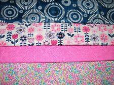 4 FQ Bundle – Pink, Blue & White Prints 100% Cotton Quilt Fabric Fat Quartrs