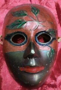 """Solid Brass India Woman Face Painted Mask Mardi Gras Leafs 5 1/2"""" tall 4 1/4"""""""
