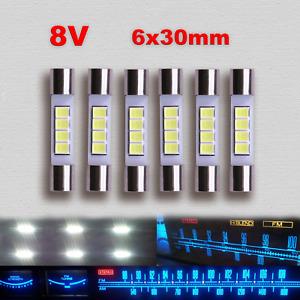 6x Weiße LED Lampen Marantz Vintage Stereo AC8V 6x30mm Display Licht Ersatz