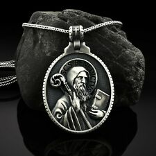 Sterling Silver Saint Benedict Oval Mens Necklace Christian Religious Medallion