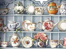 Blue Cups and Saucer Cupboard Wallpaper Border 90222 HH