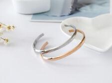 NEW 18K White / Rose Gold Filled Solid Women's 4mm Plain Bangle Bracelet Fashion
