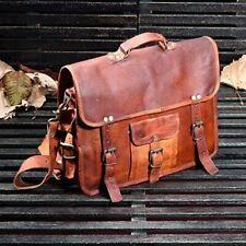 Season sale Distressed Vintage Leather Messenger Shoulder Laptop Bag Briefcase