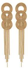 Zest Triple Ring Pierced Earrings with Chain Drops Golden