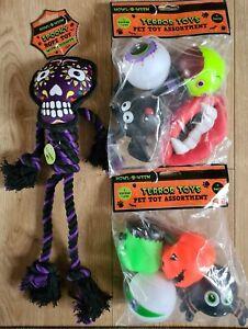 Bundle of 3  DOG ROPE TOY Spooky Squeaker Terror Toys Assortment HALLOWEEN