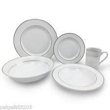 16-Piece Dinnerware Set - Gold Double Banded Metallic w/ Bonus Serving Bowl
