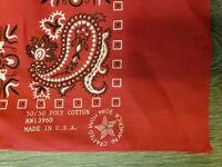 "NWT Vintage Bandana Giant 30"" Handkerchief Red Paisley 50/50 Lamonts USA 70s"