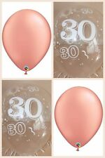 Rose Gold Balloons & Clear Printed 30th BIRTHDAY BALLOONS Party Decorations x 12