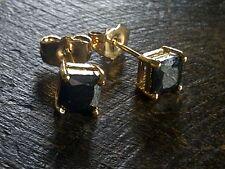 Classic square black onyx SINGLE / PAIR 5mm gold gf unisex earrings BOXD Plum UK