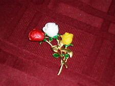 Enamel On Goldtone Signed Ladies Danecraft Rose Pin Brooch