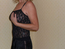 Black Stretch Lace Cami Top Size 14