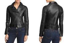 BB Dakota Stafford Leather Moto Jacket Small Black