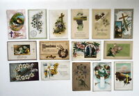LOT OF  25  EASTER GREETINGS ANTIQUE  POSTCARDS