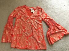 NEW NWT MICHAEL Kors long fancy sleeves cocktail top golden print XS XSMALL 2 4