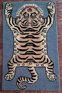 Tibetan Tiger Rug With 100% Woolen, 3x5 feet for Home Décor Light blue colour