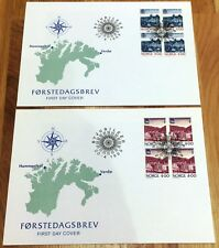 Norway Post FDC 1989.04.20. City Jubilees Ports Vardø Hammerfest - Block of Four
