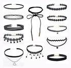Damen Choker 12 Stück Set Halsband Halskette Leder Schleife Blogger Samt Spitze