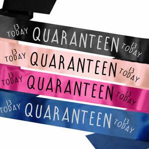 Birthday Sash 13th Teenage Thirteen Lockdown Gift Idea Quarantine Teenager Today