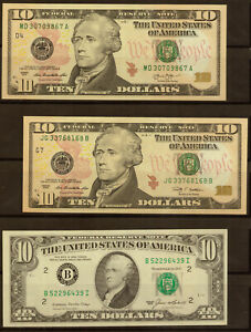 2013&2009&1985  $10 Dollars, Note Federal Reserve , without using