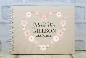 Personalised Wedding Guest Book Wooden Guest Book Flower Heart
