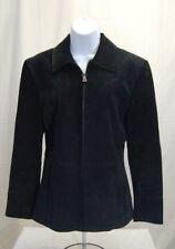 Bernardo Black Suede Zip Up Jacket Size M Women's