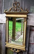 LARGE VINTAGE MID CENTURY SYROCO ANTIQUED GOLD & WHITE HOME & GARDEN WALL MIRROR