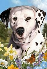 Outdoor Small Flag Dalmatian Dog Summer Flowers Garden Flag