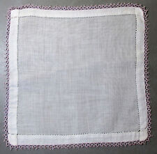 Vtg White Linen Hankie Hand Tatted Lavender Lace Edging Hemstitched 1950s