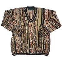 Vintage 90s Coogi Style Sweater Sz M 3d Knit Biggie Cosby Hip Hop