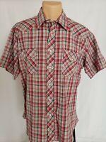 Rustler Wrangler Men's Western Pearl Snap Shirt XL Red Plaid Short Sleeve Cotton