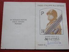 Original Fascist Card Tessera P.N.F. Fasci Italiani Estero Londra London 1935 #1