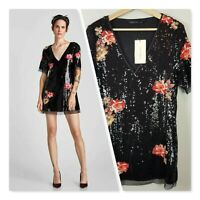 [ ZARA  ] Womens Black Floral Sequin Mini Dress NEW  | Size S or AU 10 / US 6