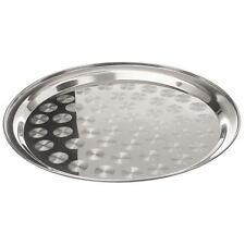 Stainless Steel Round 30cm Serving Tray Plate Indian Food Catering Swirl Pattern