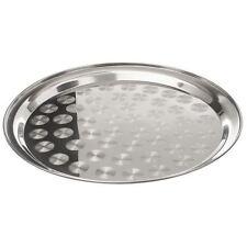 ROUND IN ACCIAIO INOX 25 cm Vassoio Piatto di Cibo Indiano Catering Swirl Pattern